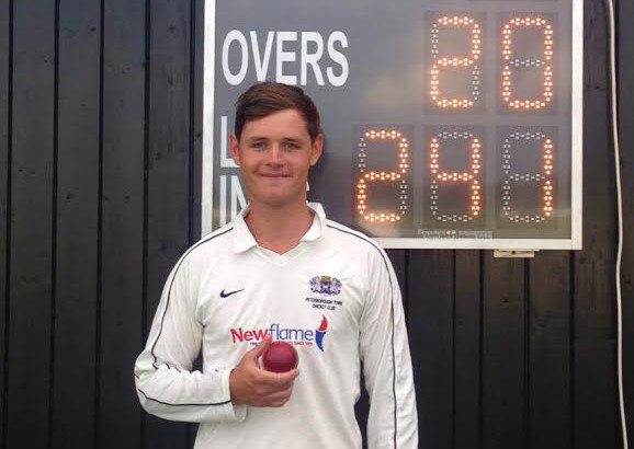 Peterborough Town paceman Joe Dawborn after his sensational 10-wicket display at Brixworth. Photo: courtesy Brixworth CC.