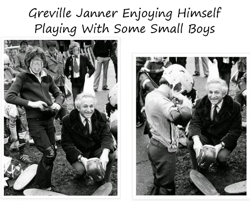 Greville Janner playing with some boys