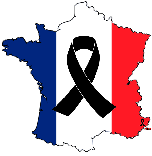 French-flag-map black ribbon july nice