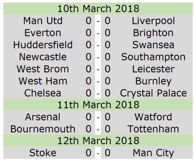 fixtures 10th